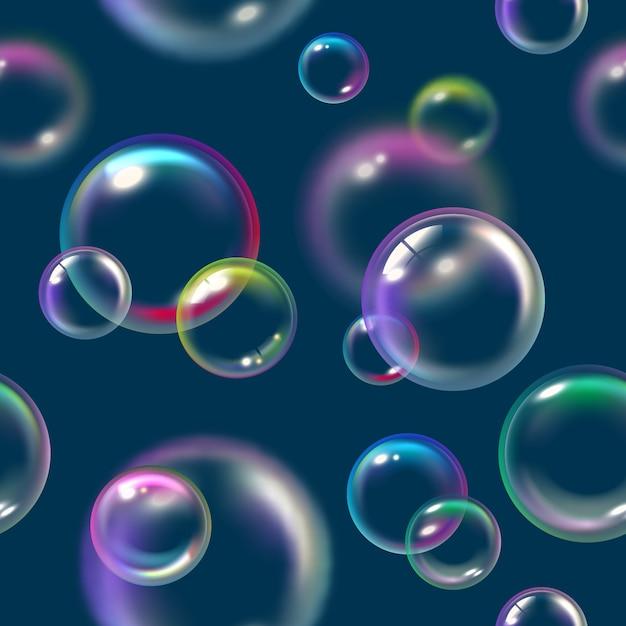 Padrão de bolhas. sabonete líquido float espuma água textura vetor bolhas padrão sem emenda. ilustração do padrão de espuma ou bolha de ar Vetor Premium