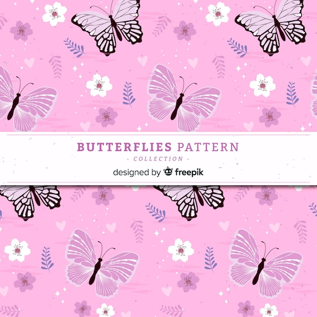 Padrão de borboleta plana Vetor grátis