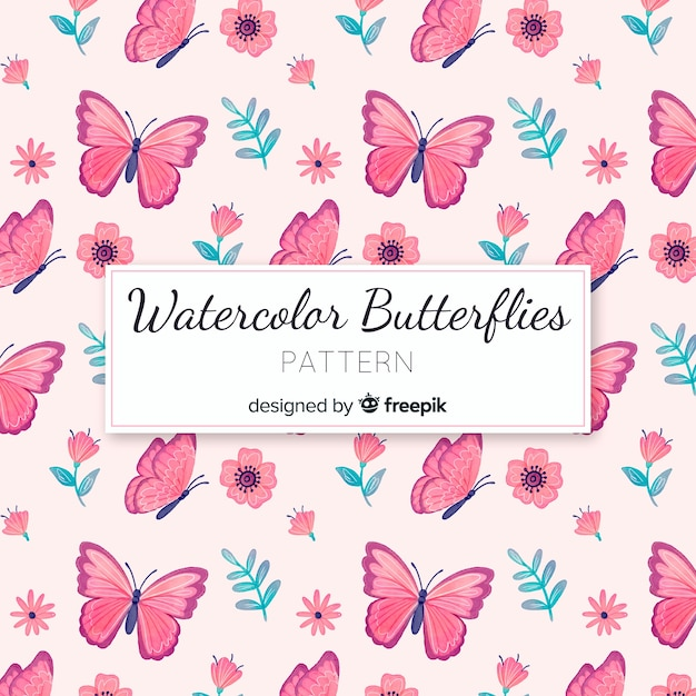 Padrão de borboletas em aquarela Vetor grátis