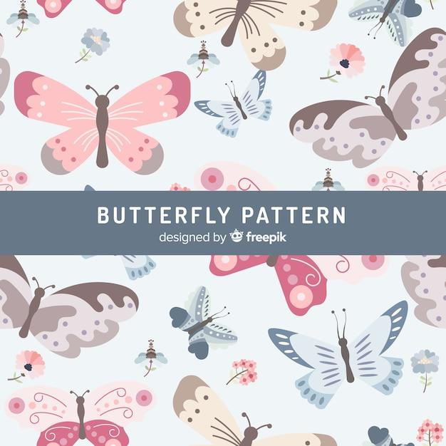 Padrão de borboletas planas Vetor grátis