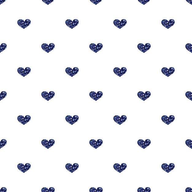 Padrão de brilho de coração azul sem costura no fundo branco Vetor Premium