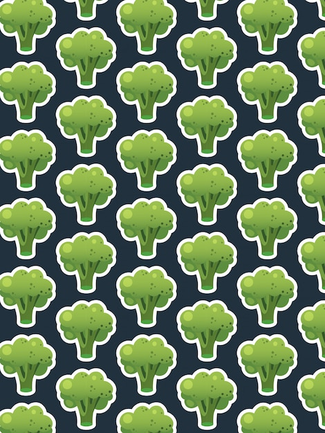 Padrão de brócolis no escuro Vetor Premium