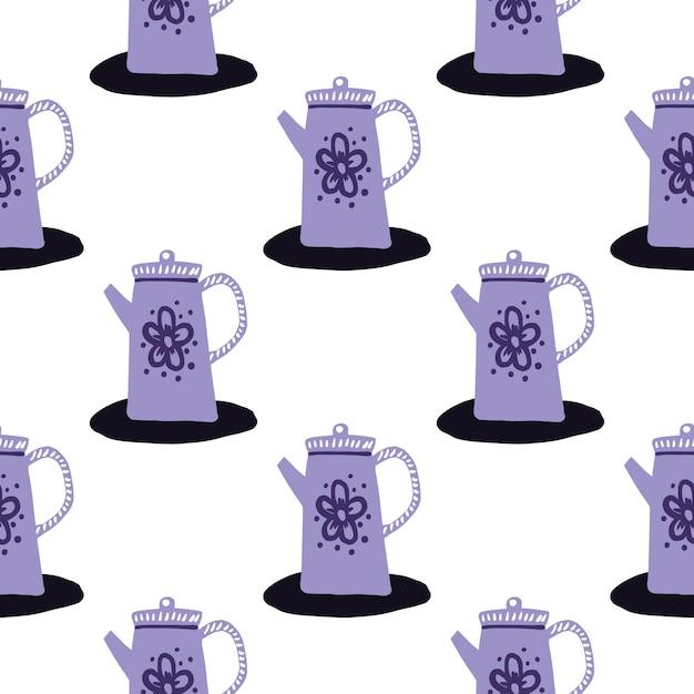 Padrão de bules roxos sem costura isolado. ornamento de cozinha doodle em fundo branco. Vetor Premium