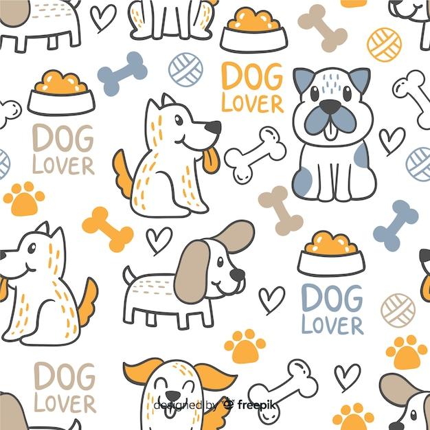 Padrão de cães e palavras de doodle colorido Vetor grátis