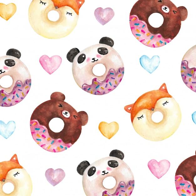 Padrão de caracteres em aquarela donut engraçado Vetor Premium