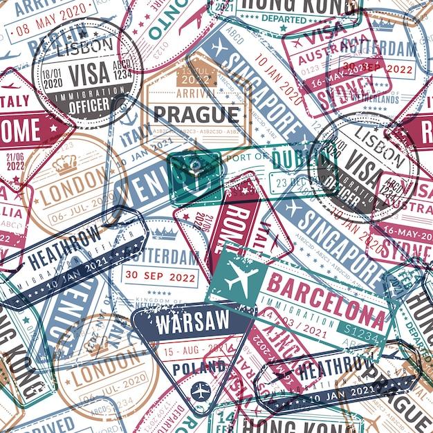 Padrão de carimbo de viagem. o visto do aeroporto do passaporte do viajante do vintage chegou selos. viajando pelo mundo férias vetor sem costura textura Vetor Premium