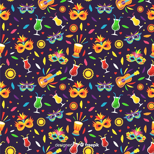 Padrão de carnaval brasileiro colorido Vetor grátis