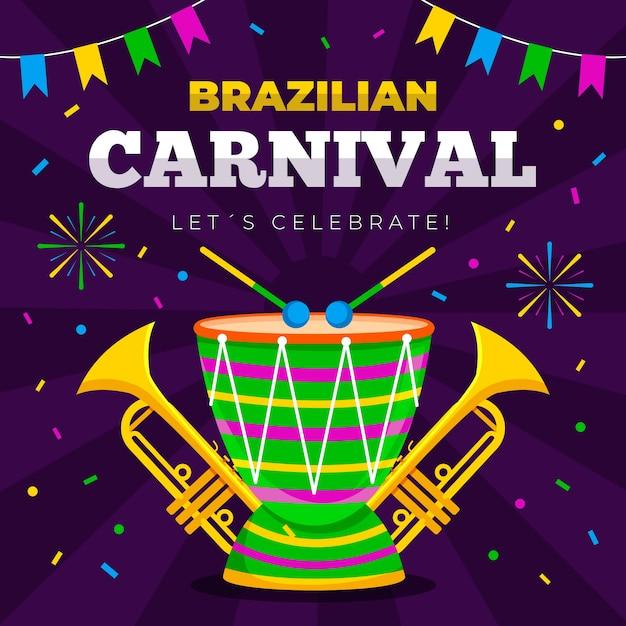 Padrão de carnaval brasileiro com bateria Vetor grátis