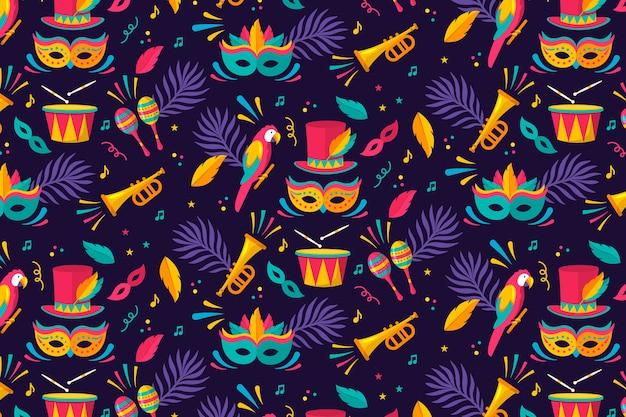 Padrão de carnaval brasileiro de design plano Vetor grátis