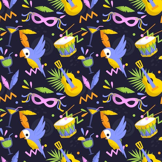 Padrão de carnaval brasileiro plana com máscaras e pássaros Vetor grátis