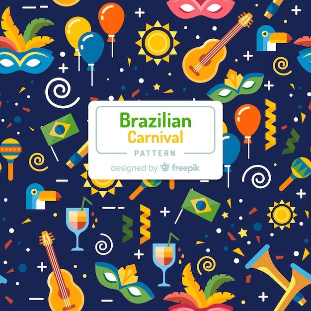 Padrão de carnaval brasileiro plana Vetor grátis