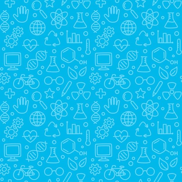 Padrão de ciência sem costura, ciência de mão desenhada doodles em azul. Vetor Premium