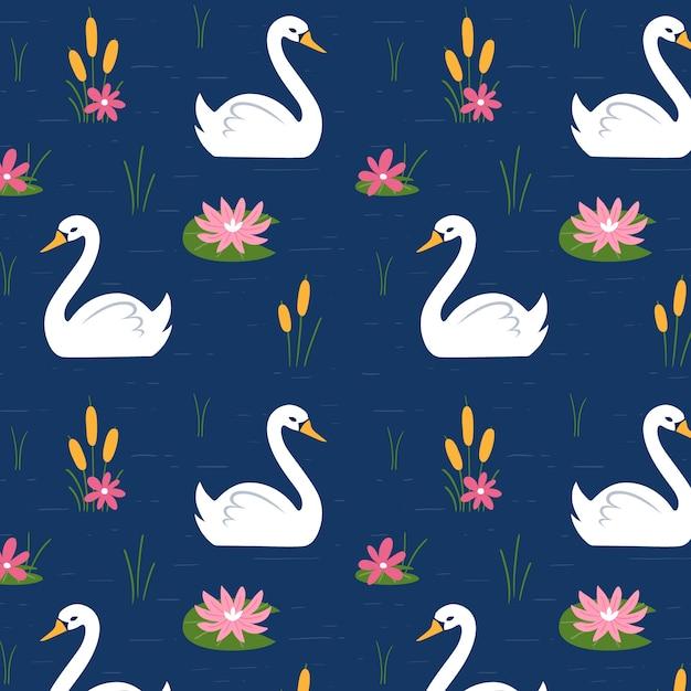 Padrão de cisne elegante Vetor grátis