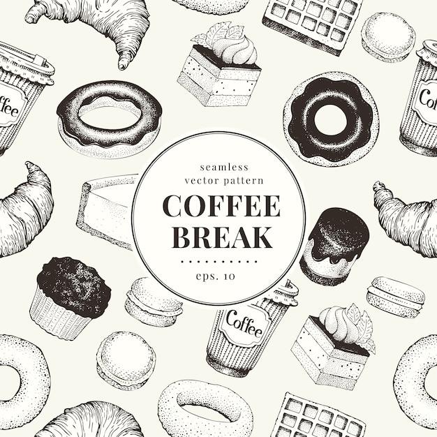 Padrão de coffee break Vetor Premium