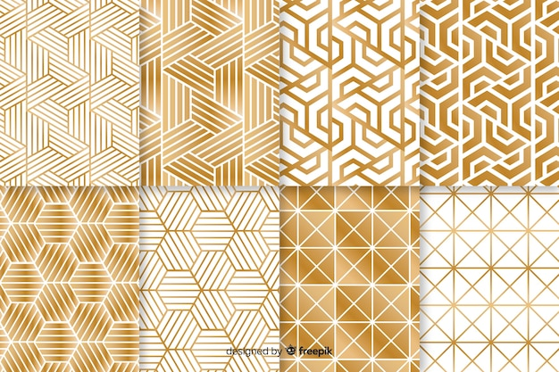Padrão de coleção com forma geométrica luxuosa Vetor grátis