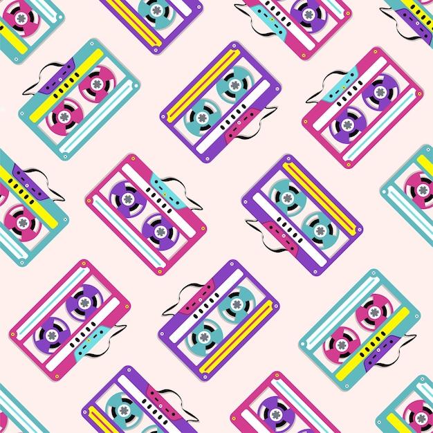 Padrão de coleção de fitas cassete de áudio de plástico colorido. Vetor Premium
