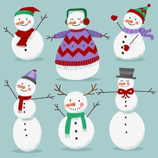 Padrão de coleção de inverno branco de boneco de neve Vetor Premium
