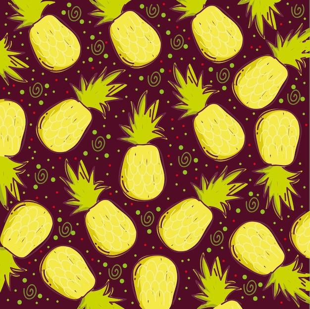 Padrão de comida, ilustração de decoração de abacaxi de frutas tropicais exóticas Vetor Premium