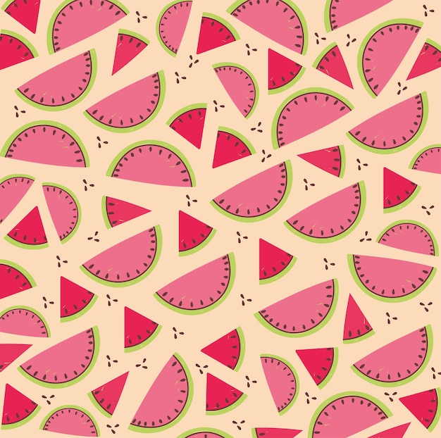 Padrão de comida, ilustração tropical de fatia de melancia com frutas frescas Vetor Premium