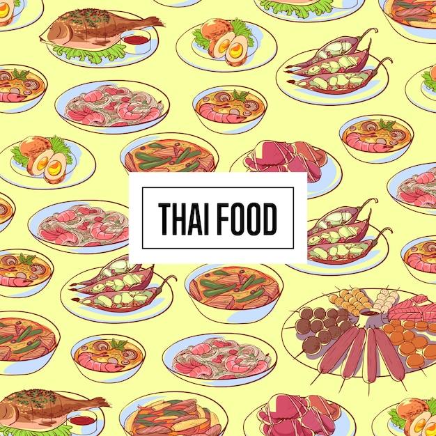 Padrão de comida tailandesa com pratos de cozinha asiática Vetor Premium