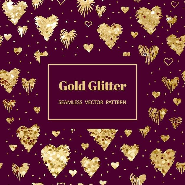 Padrão de coração de ouro Vetor Premium