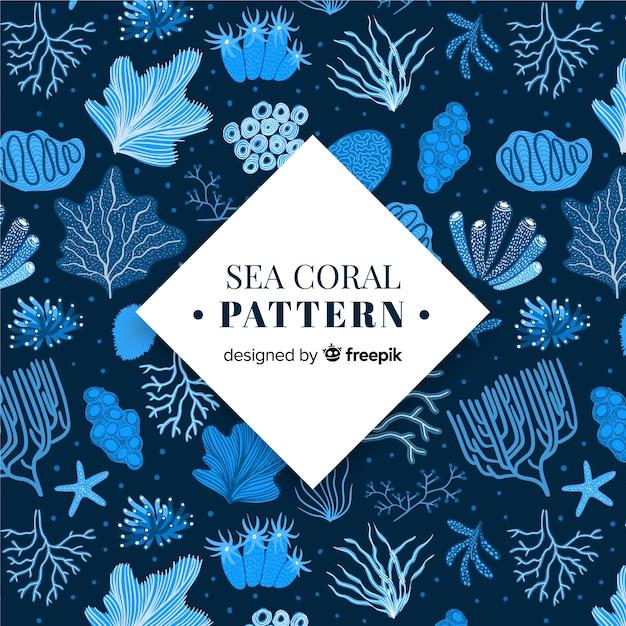 Padrão de coral desenhado de mão Vetor grátis