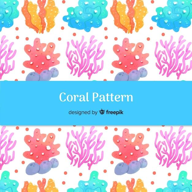 Padrão de coral desenhado em aquarela de mão Vetor grátis