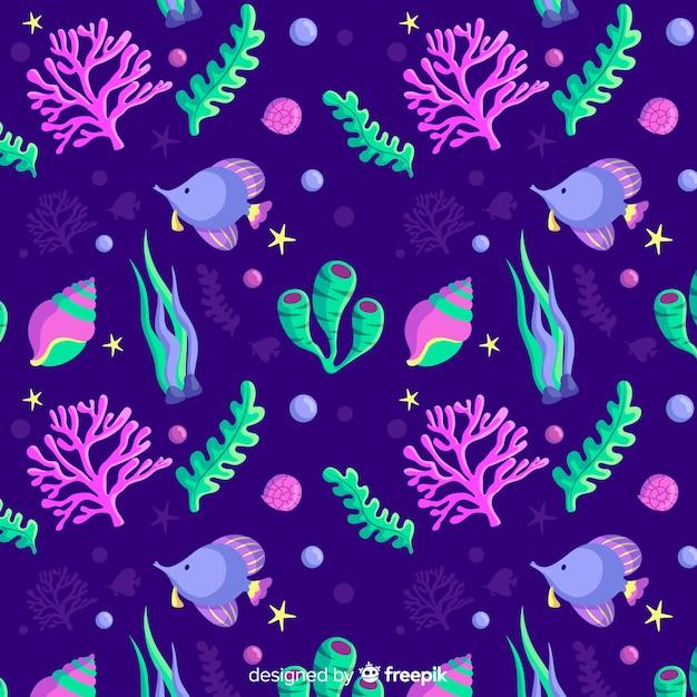 Padrão de coral plano Vetor grátis