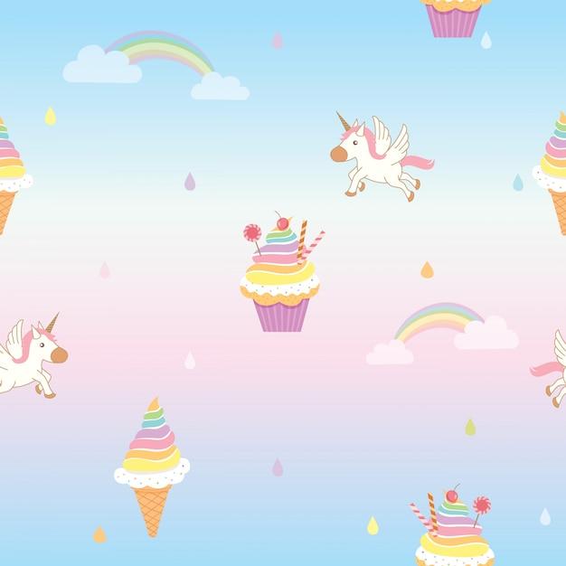 Padrão de cupcake Vetor Premium
