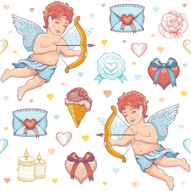 Padrão de desenho de amor dia dos namorados. Vetor Premium