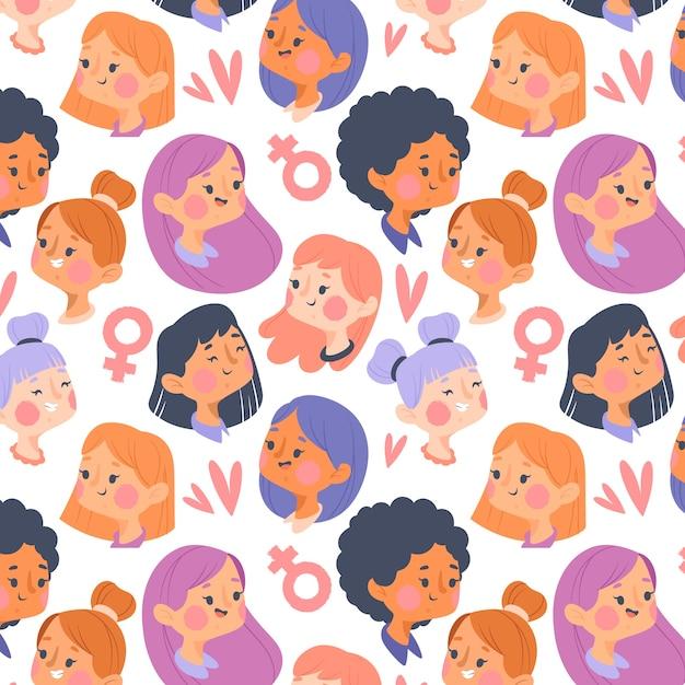 Padrão de dia das mulheres com conceito de rostos Vetor grátis