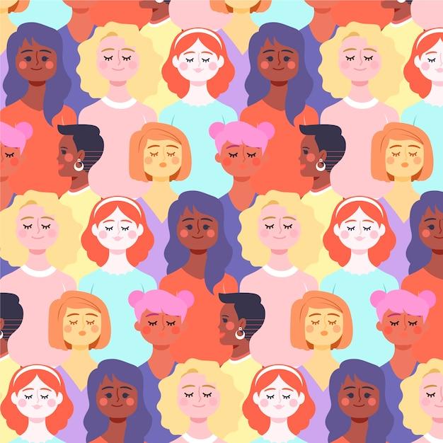 Padrão de dia das mulheres com rostos de mulheres Vetor grátis