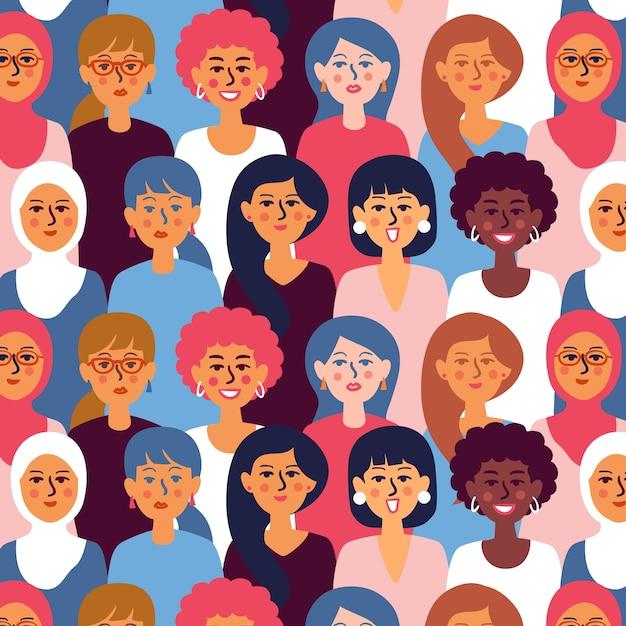 Padrão de dia das mulheres com rostos Vetor grátis