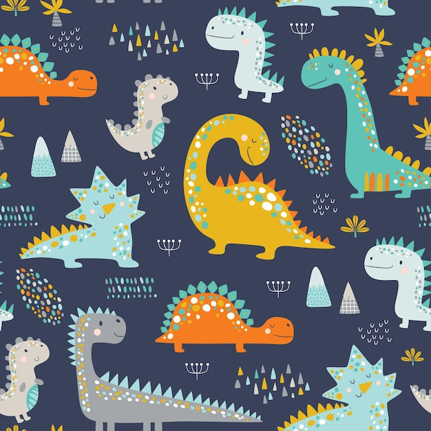 Padrão de dinossauros de lindos filhos engraçados. Vetor Premium