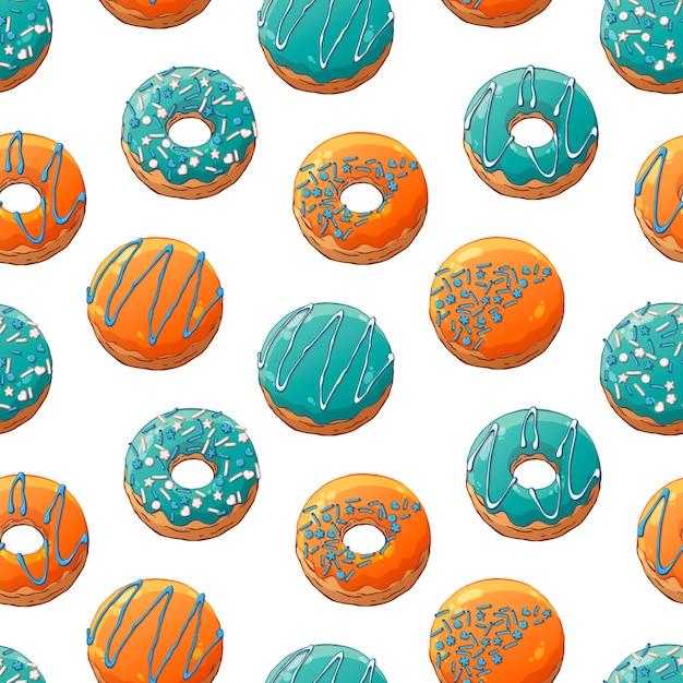 Padrão de donuts de vetor decorado com coberturas Vetor Premium