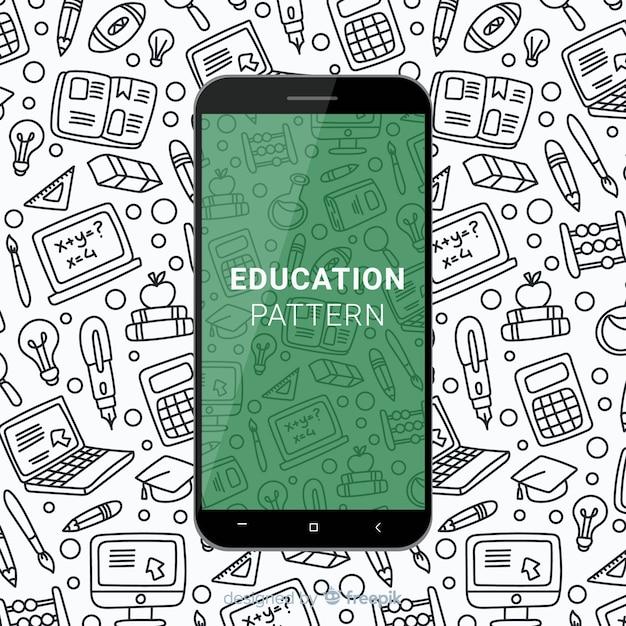 Padrão de educação móvel de mão desenhada Vetor grátis