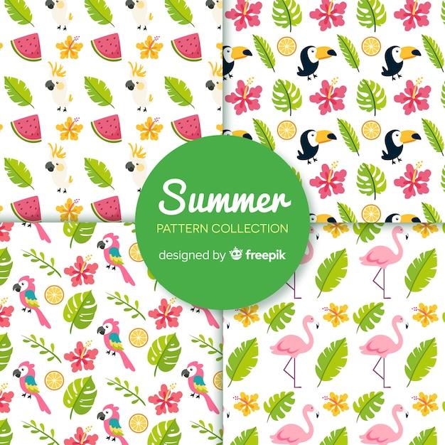 Padrão de elemento de verão colorido Vetor grátis