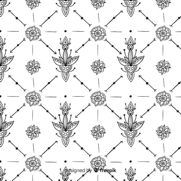 Padrão de elemento floral desenhado de mão Vetor grátis