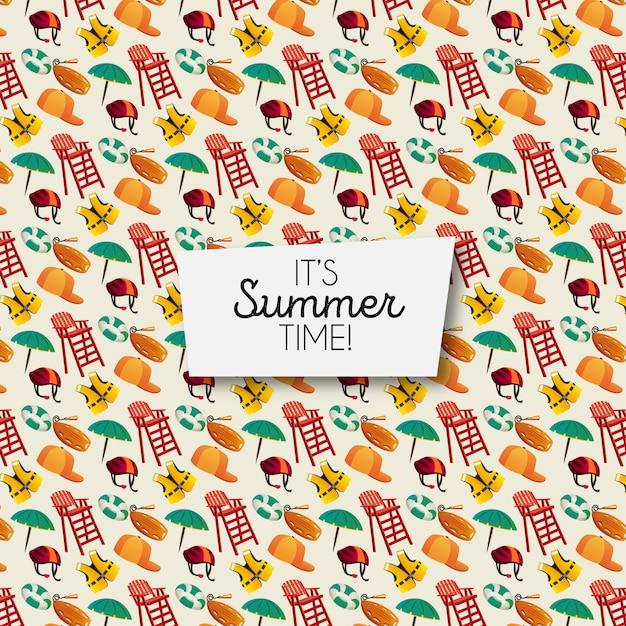 Padrão de elementos de verão Vetor grátis