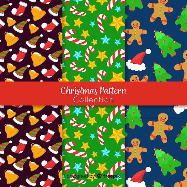 Padrão de elementos minúsculos de natal Vetor grátis