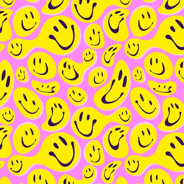 Padrão de emoticon de sorriso distorcido Vetor grátis