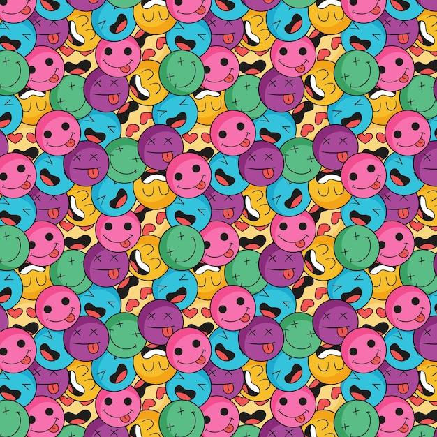 Padrão de emoticons de sorriso colorido Vetor grátis