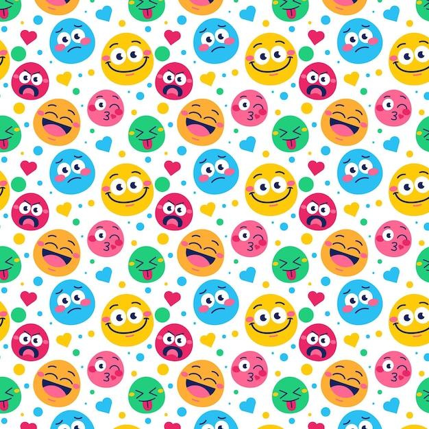 Padrão de emoticons de sorriso Vetor grátis