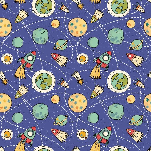 Padrão de espaço sem costura com espaço, foguetes, cometa e planetas. fundo infantil. mão de ilustração vetorial desenhada Vetor Premium