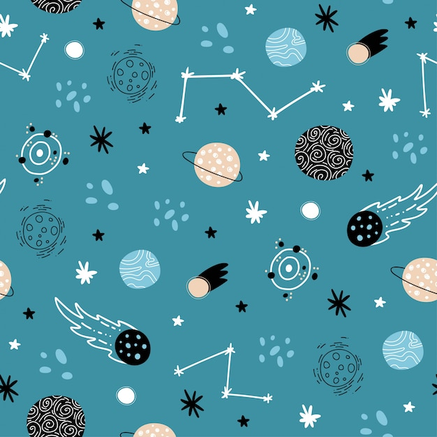 Padrão de espaço sem emenda. foguetes, estrelas, planetas, o sistema solar, constelações, elementos cósmicos. Vetor Premium