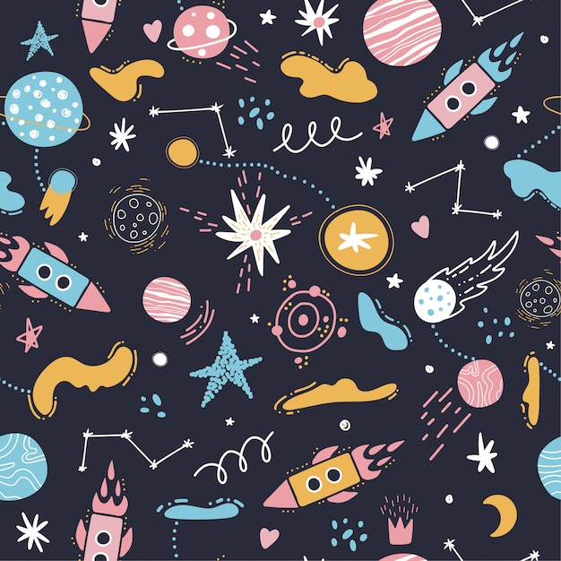 Padrão de espaço sem emenda. foguetes, estrelas, planetas. Vetor Premium