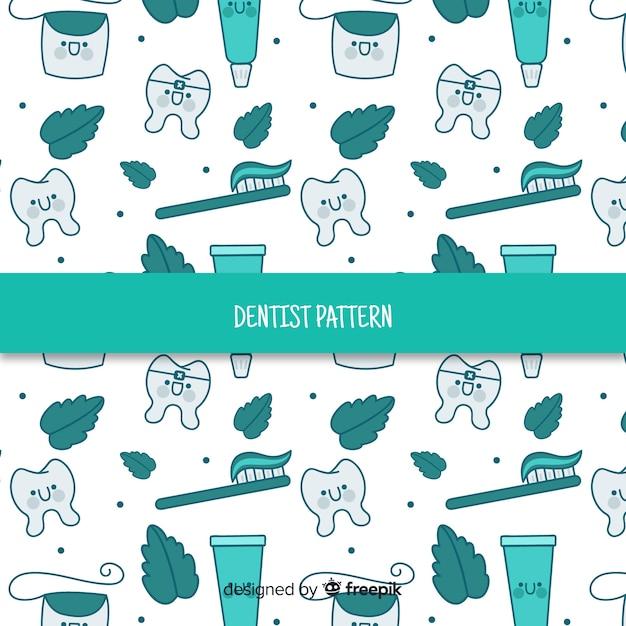 Padrão de ferramentas de cuidados dentários de desenhos animados Vetor grátis