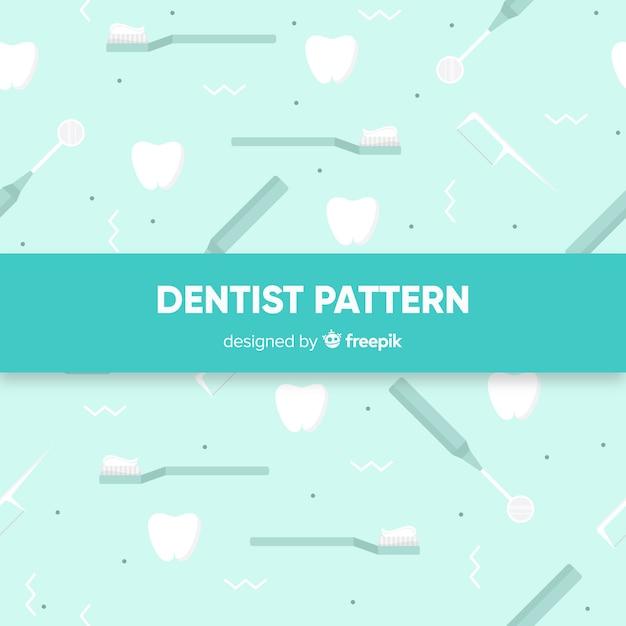 Padrão de ferramentas de dentista plana Vetor grátis