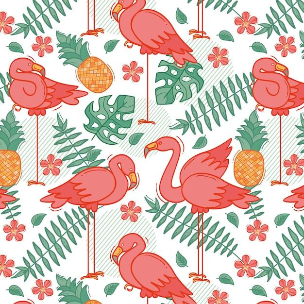 Padrão de flamingo colorido Vetor grátis