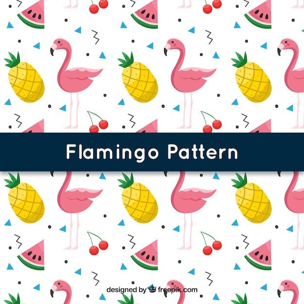 Padrão de flamingos com frutas no estilo 2d Vetor grátis